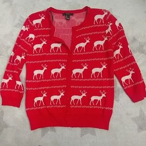 Grey Ugly Sweater with Reindeer in Red